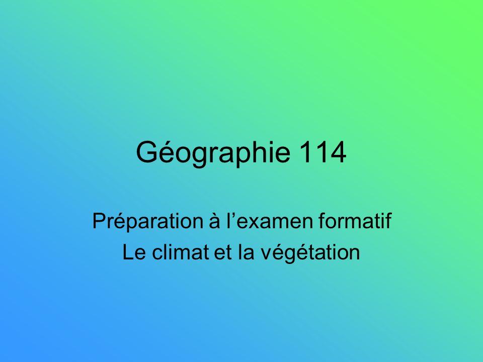 Géographie 114 Préparation à lexamen formatif Le climat et la végétation