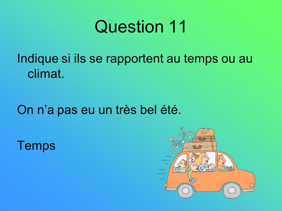 Question 11 Indique si ils se rapportent au temps ou au climat. On na pas eu un très bel été. Temps