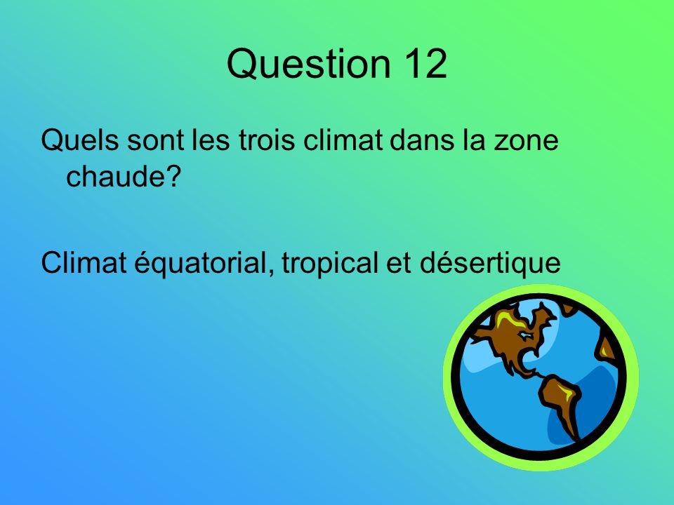 Question 12 Quels sont les trois climat dans la zone chaude? Climat équatorial, tropical et désertique