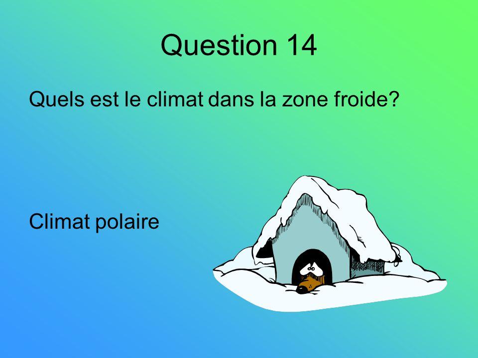 Question 14 Quels est le climat dans la zone froide? Climat polaire