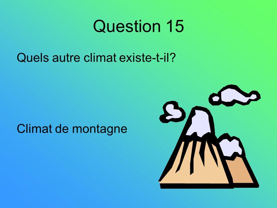 Question 15 Quels autre climat existe-t-il? Climat de montagne