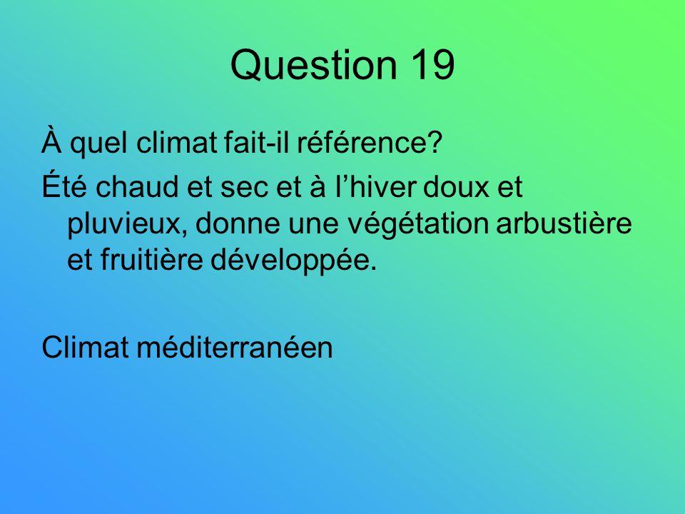 Question 19 À quel climat fait-il référence? Été chaud et sec et à lhiver doux et pluvieux, donne une végétation arbustière et fruitière développée. C