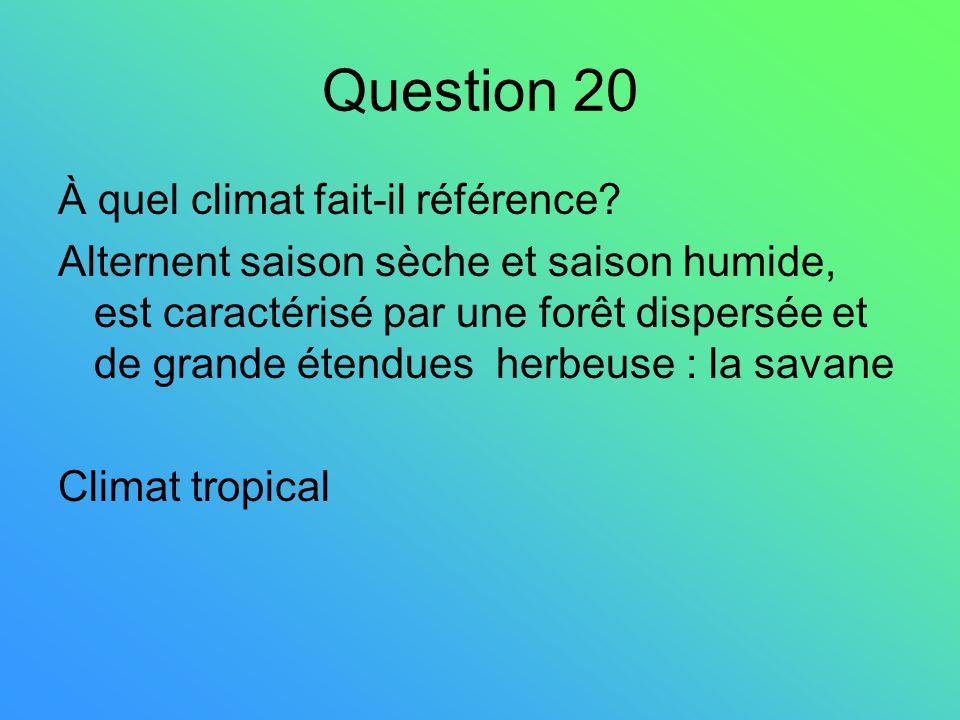 Question 20 À quel climat fait-il référence? Alternent saison sèche et saison humide, est caractérisé par une forêt dispersée et de grande étendues he