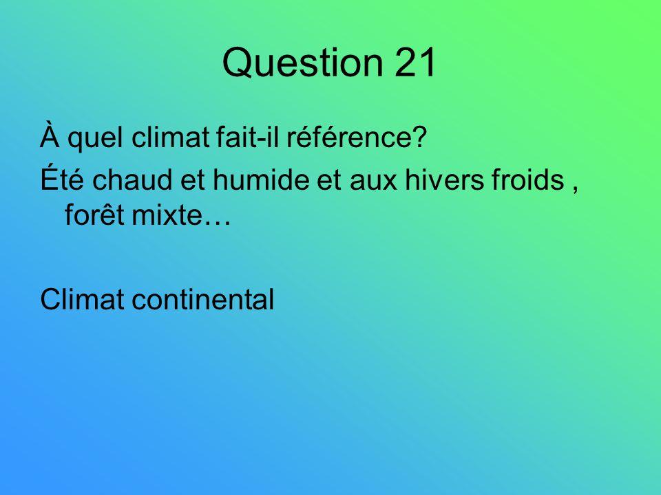 Question 21 À quel climat fait-il référence? Été chaud et humide et aux hivers froids, forêt mixte… Climat continental
