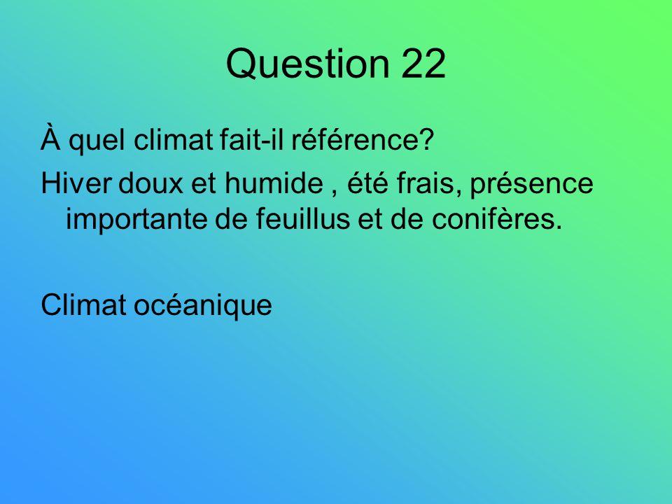 Question 22 À quel climat fait-il référence? Hiver doux et humide, été frais, présence importante de feuillus et de conifères. Climat océanique