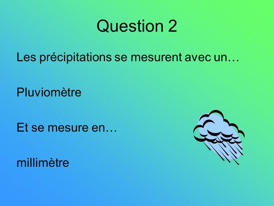 Question 2 Les précipitations se mesurent avec un… Pluviomètre Et se mesure en… millimètre