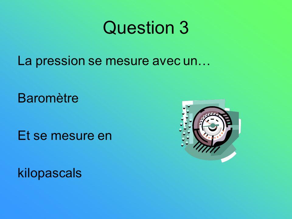 Question 4 La vitesse du vent se mesure avec un… anémomètre Et se mesure en km/h