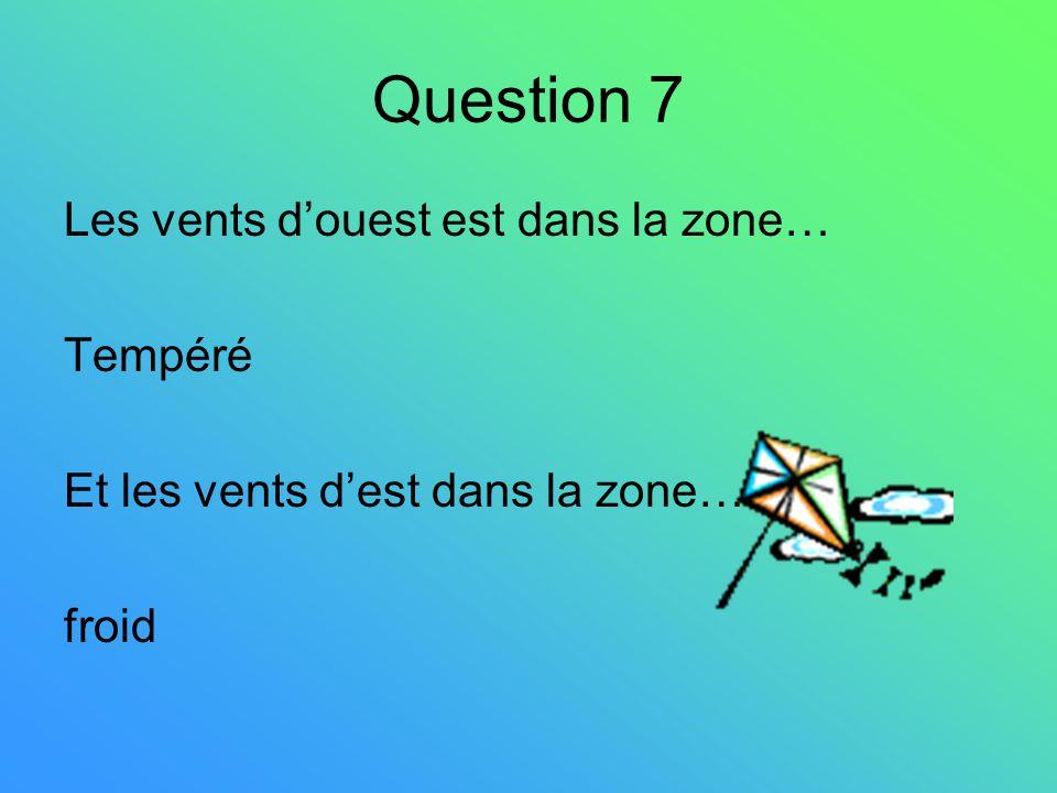 Question 7 Les vents douest est dans la zone… Tempéré Et les vents dest dans la zone… froid