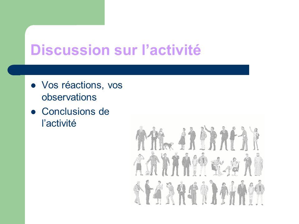 Discussion sur lactivité Vos réactions, vos observations Conclusions de lactivité