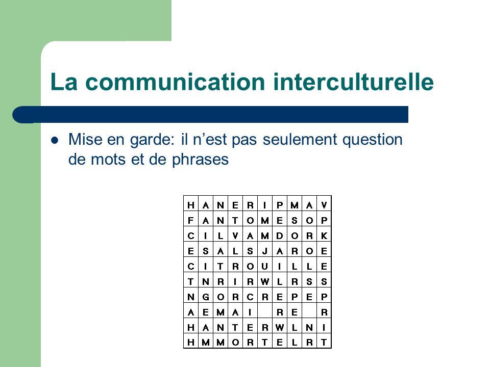 La communication interculturelle Mise en garde: il nest pas seulement question de mots et de phrases