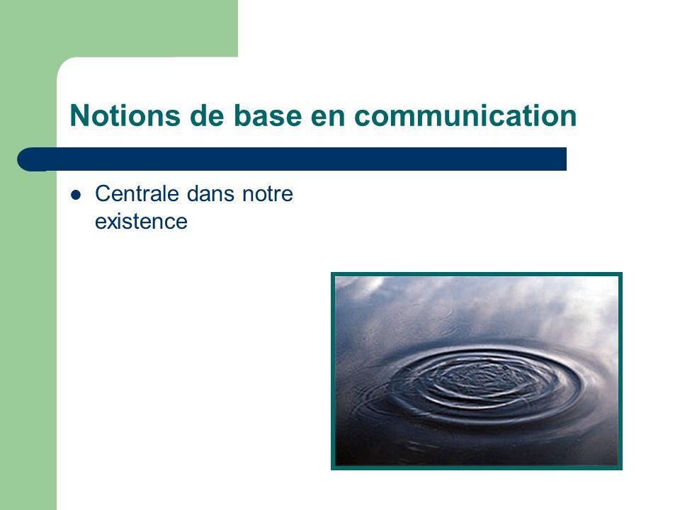 Notions de base en communication Centrale dans notre existence