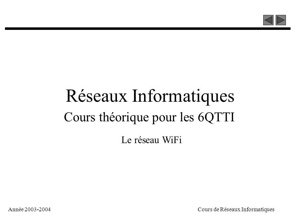 Année 2003-2004Cours de Réseaux Informatiques Réseaux Informatiques Cours théorique pour les 6QTTI Le réseau WiFi