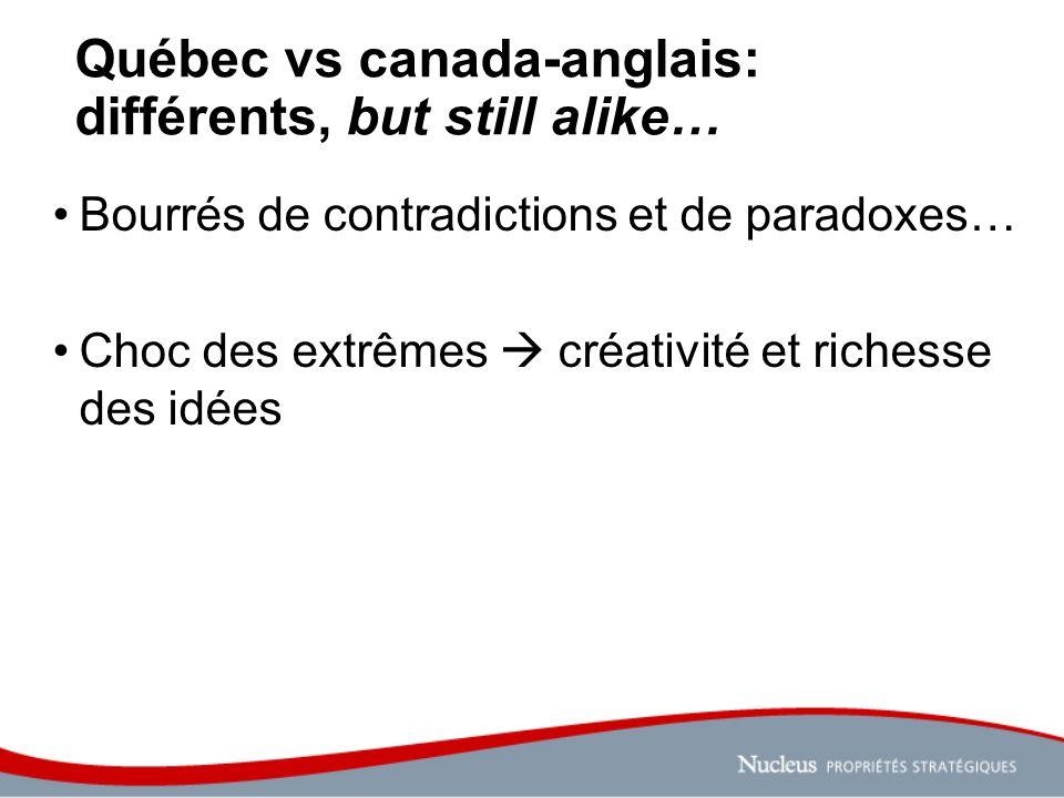 Québec vs canada-anglais: différents, but still alike… Bourrés de contradictions et de paradoxes… Choc des extrêmes créativité et richesse des idées