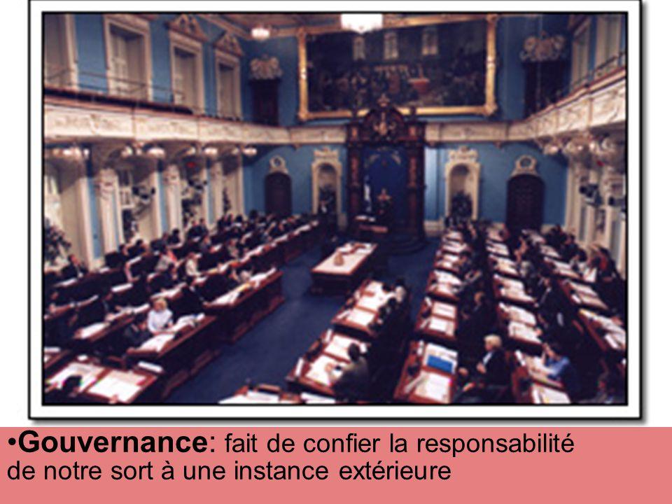 Gouvernance: fait de confier la responsabilité de notre sort à une instance extérieure