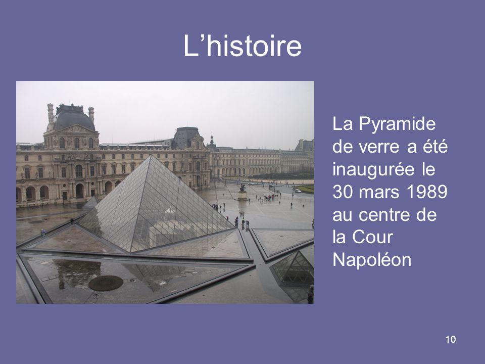10 Lhistoire La Pyramide de verre a été inaugurée le 30 mars 1989 au centre de la Cour Napoléon