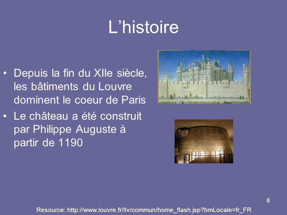 8 Lhistoire Depuis la fin du XIIe siècle, les bâtiments du Louvre dominent le coeur de Paris Le château a été construit par Philippe Auguste à partir