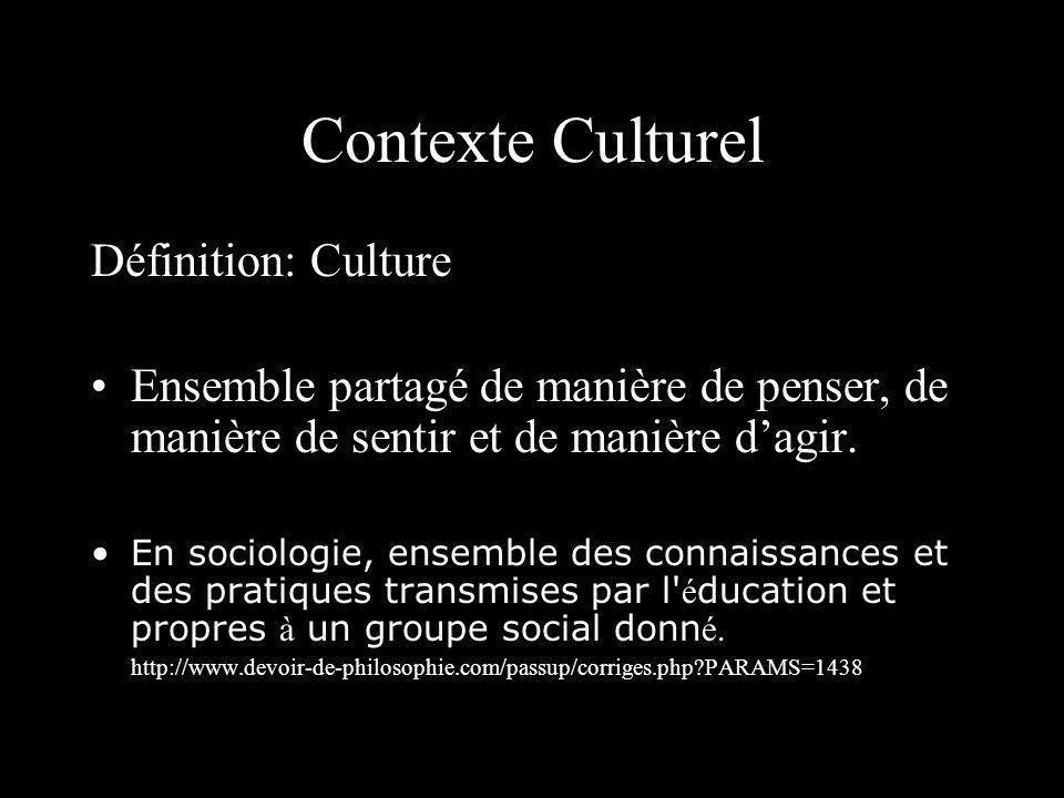 Contexte Culturel Définition: Culture Ensemble partagé de manière de penser, de manière de sentir et de manière dagir. En sociologie, ensemble des con