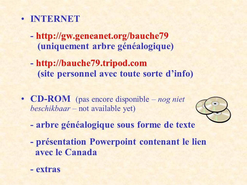 INTERNET - http://gw.geneanet.org/bauche79 (uniquement arbre généalogique) - http://bauche79.tripod.com (site personnel avec toute sorte dinfo) CD-ROM (pas encore disponible – nog niet beschikbaar – not available yet) - arbre généalogique sous forme de texte - présentation Powerpoint contenant le lien avec le Canada - extras