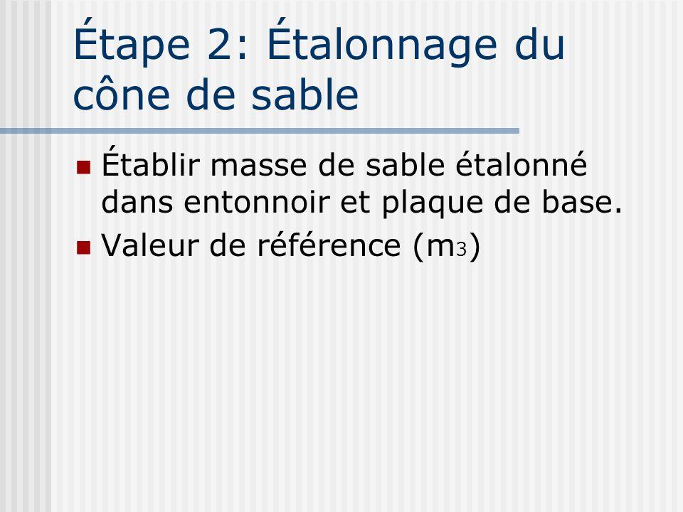 Étape 2: Étalonnage du cône de sable Établir masse de sable étalonné dans entonnoir et plaque de base. Valeur de référence (m 3 )