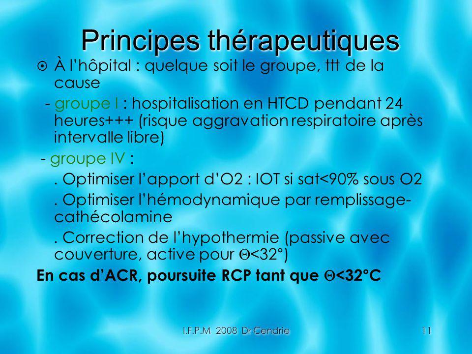 I.F.P.M 2008 Dr Cendrie11 Principes thérapeutiques À lhôpital : quelque soit le groupe, ttt de la cause - groupe I : hospitalisation en HTCD pendant 2