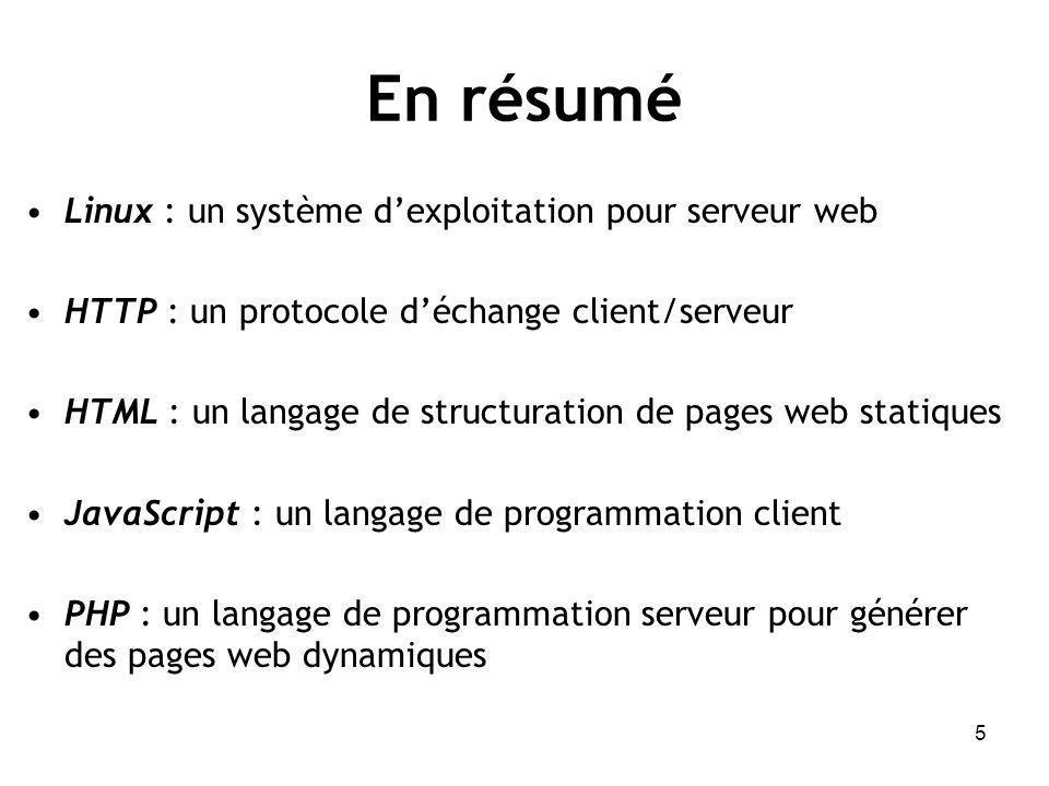 5 En résumé Linux : un système dexploitation pour serveur web HTTP : un protocole déchange client/serveur HTML : un langage de structuration de pages