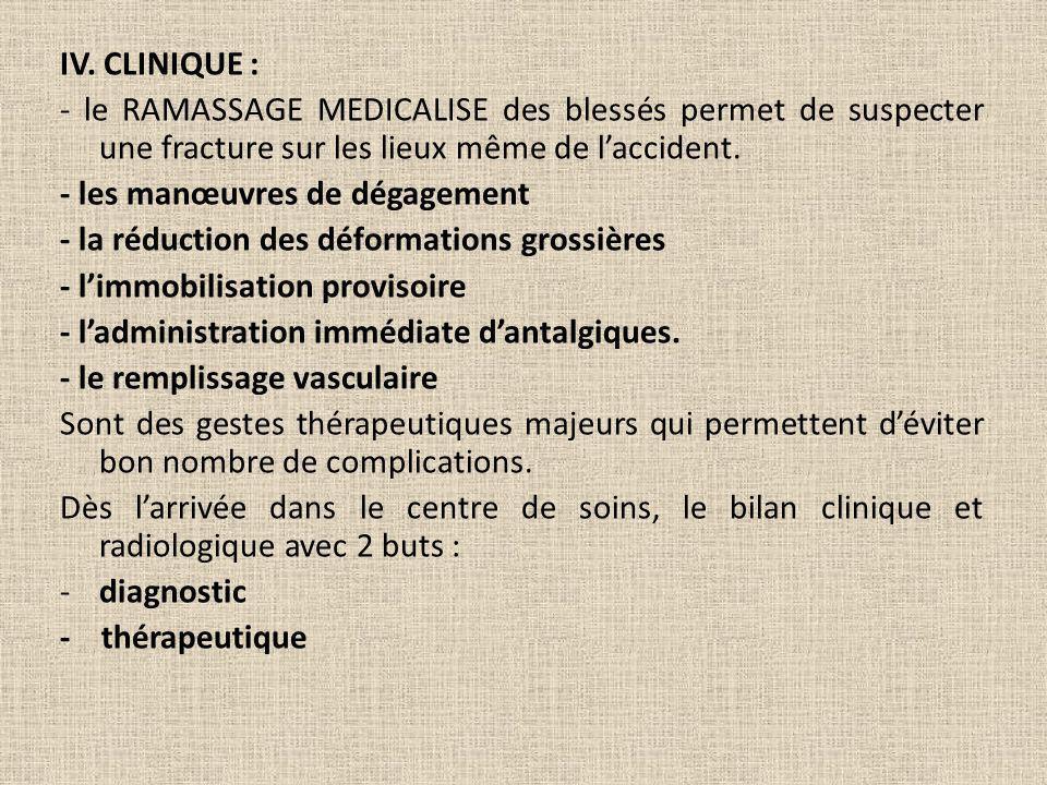 IV. CLINIQUE : - le RAMASSAGE MEDICALISE des blessés permet de suspecter une fracture sur les lieux même de laccident. - les manœuvres de dégagement -