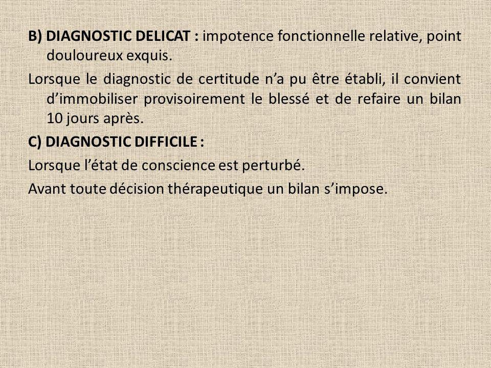 B) DIAGNOSTIC DELICAT : impotence fonctionnelle relative, point douloureux exquis. Lorsque le diagnostic de certitude na pu être établi, il convient d