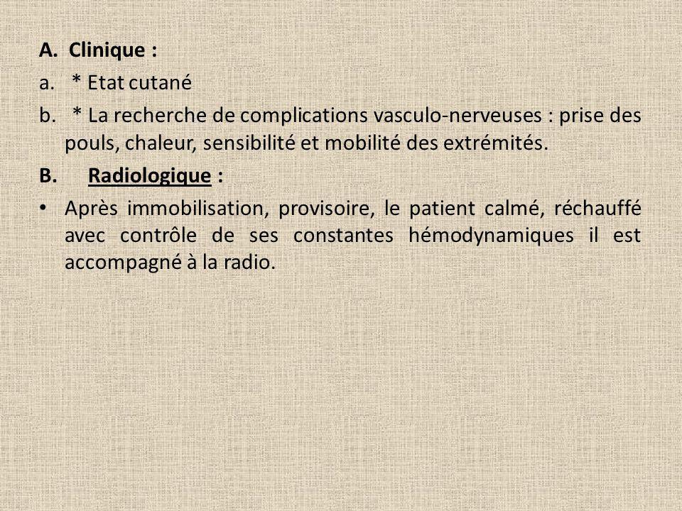 A. Clinique : a. * Etat cutané b. * La recherche de complications vasculo-nerveuses : prise des pouls, chaleur, sensibilité et mobilité des extrémités