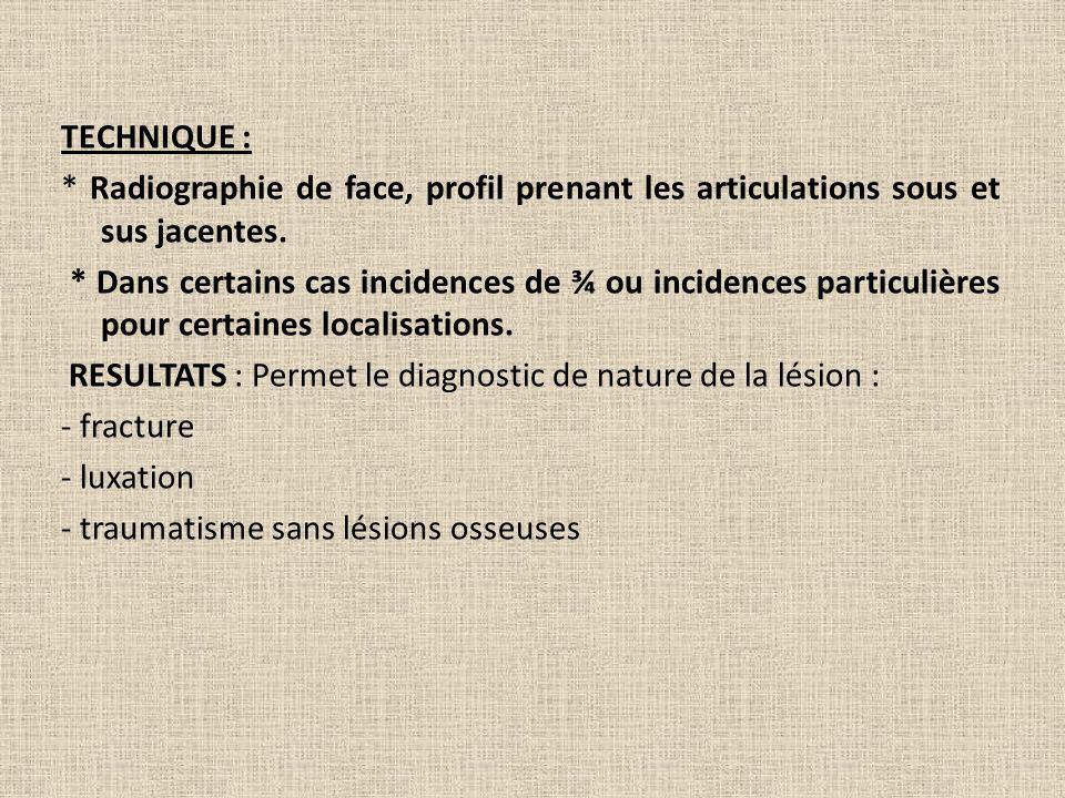 TECHNIQUE : * Radiographie de face, profil prenant les articulations sous et sus jacentes. * Dans certains cas incidences de ¾ ou incidences particuli