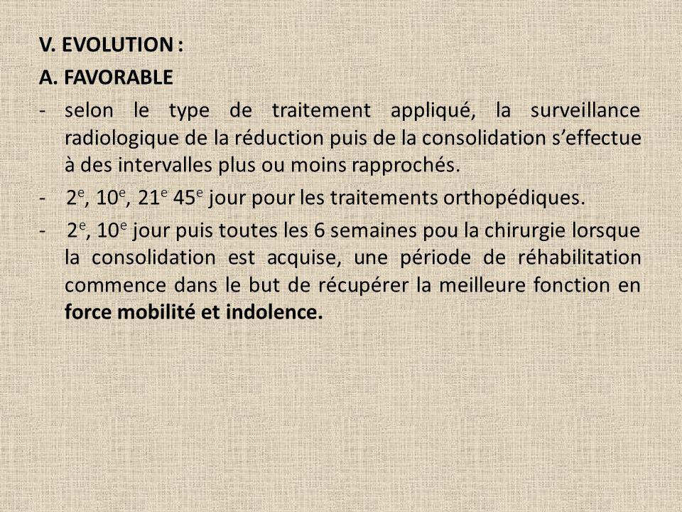 V. EVOLUTION : A. FAVORABLE -selon le type de traitement appliqué, la surveillance radiologique de la réduction puis de la consolidation seffectue à d