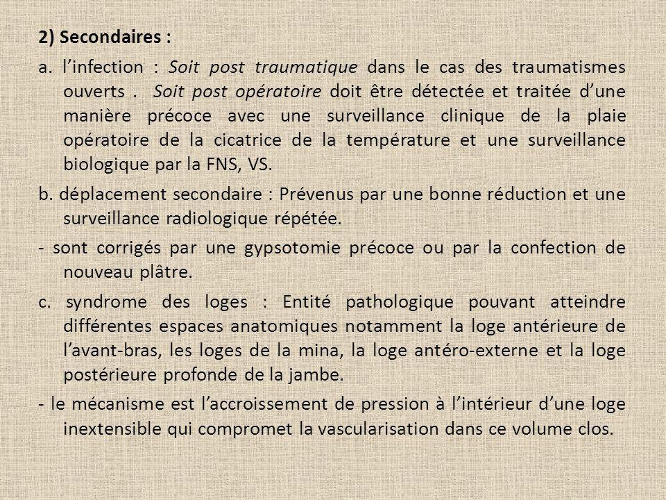 2) Secondaires : a. linfection : Soit post traumatique dans le cas des traumatismes ouverts. Soit post opératoire doit être détectée et traitée dune m