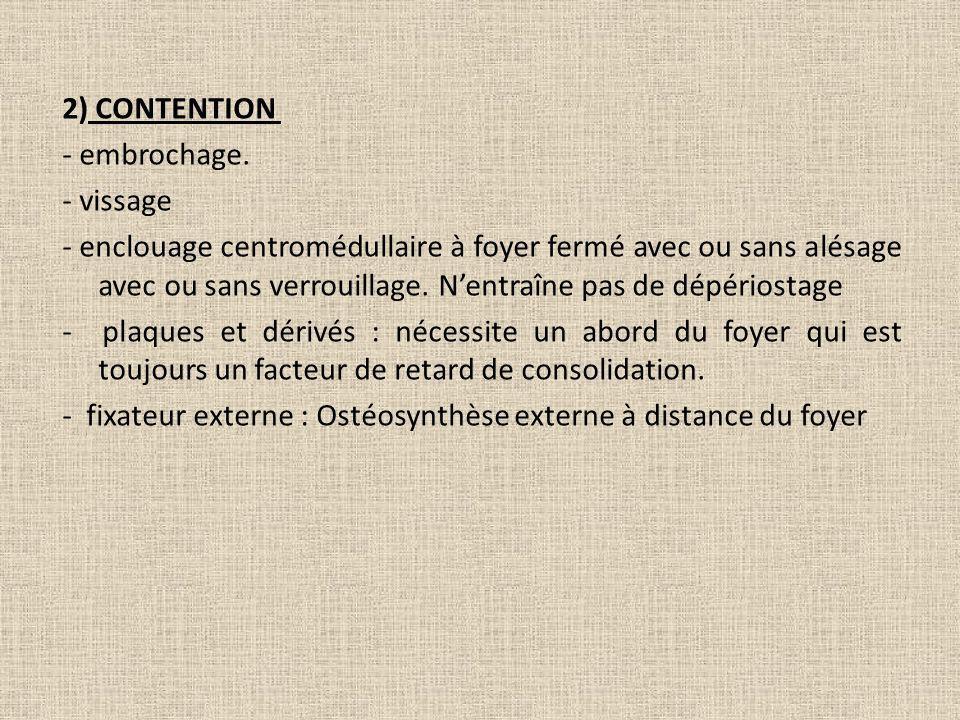 2) CONTENTION - embrochage. - vissage - enclouage centromédullaire à foyer fermé avec ou sans alésage avec ou sans verrouillage. Nentraîne pas de dépé