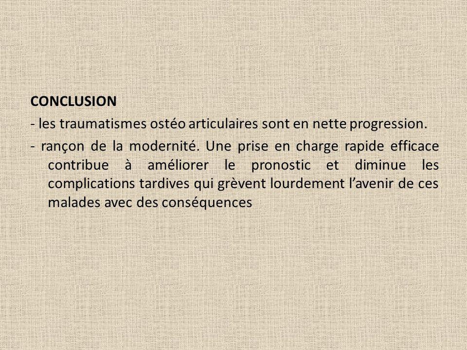 CONCLUSION - les traumatismes ostéo articulaires sont en nette progression. - rançon de la modernité. Une prise en charge rapide efficace contribue à