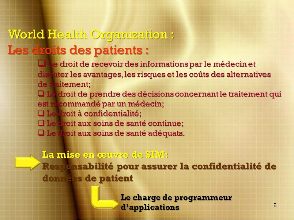 World Health Organization : Les droits des patients : Le droit de recevoir des informations par le médecin et discuter les avantages, les risques et l