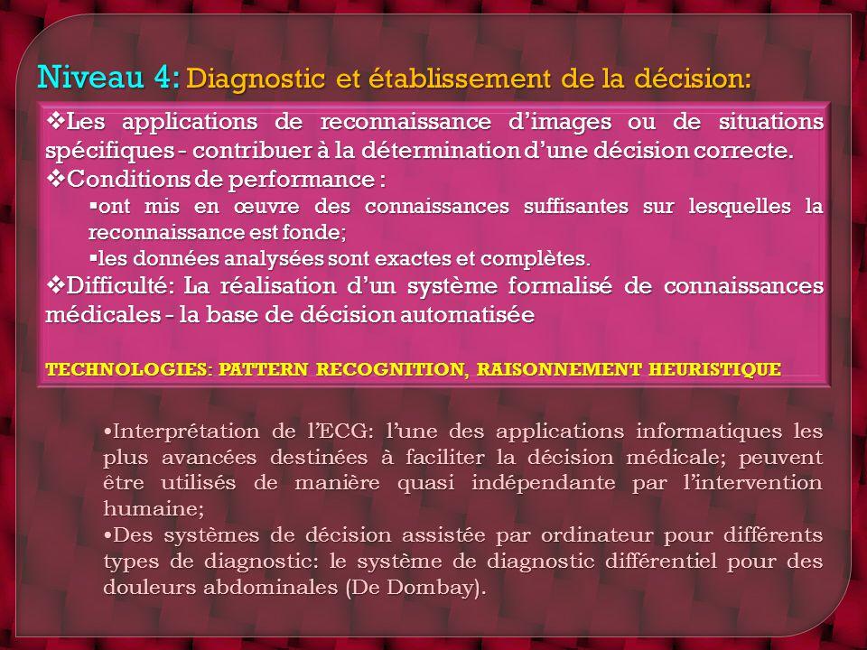 Niveau 4: Diagnostic et établissement de la décision: Les applications de reconnaissance dimages ou de situations spécifiques - contribuer à la déterm