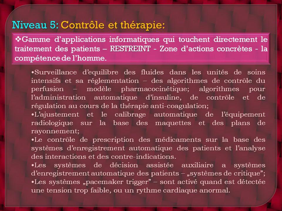 Niveau 5: Contrôle et thérapie: RESTREINT Gamme dapplications informatiques qui touchent directement le traitement des patients – RESTREINT - Zone dac