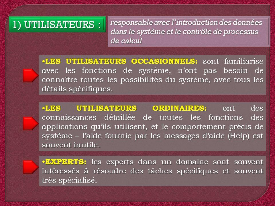 1) UTILISATEURS : responsable avec lintroduction des données dans le système et le contrôle de processus de calcul LES UTILISATEURS OCCASIONNELS: sont
