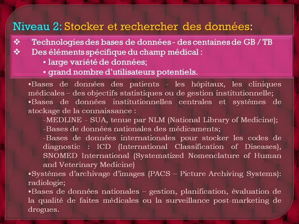 Niveau 2: Stocker et rechercher des données: Technologies des bases de données - des centaines de GB / TB Des éléments spécifique du champ médical : l