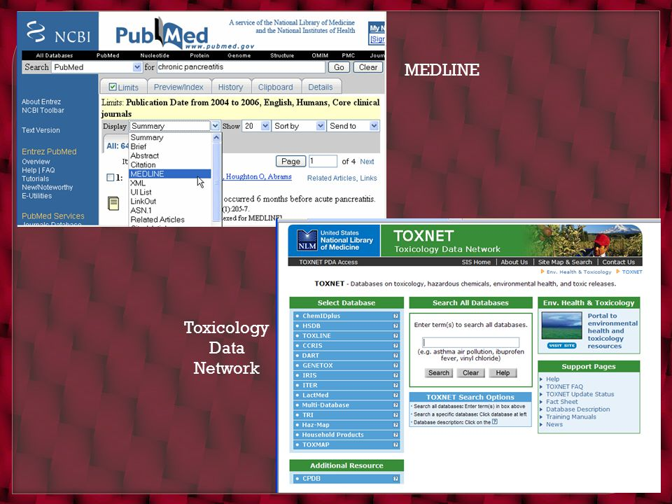 MEDLINE Toxicology Data Network