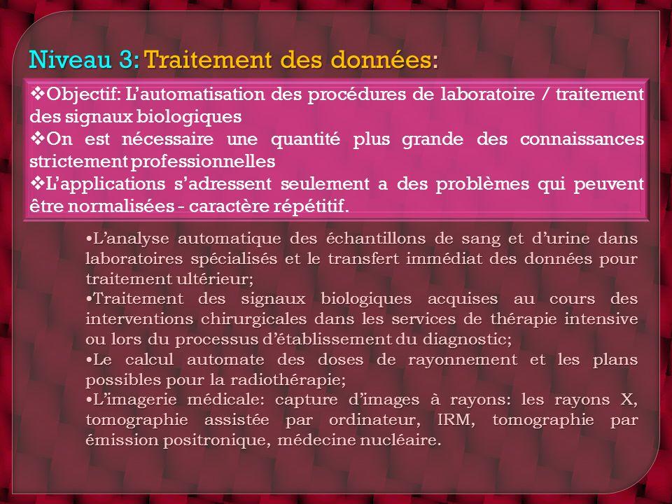 Niveau 3: Traitement des données: Objectif: Lautomatisation des procédures de laboratoire / traitement des signaux biologiques On est nécessaire une q