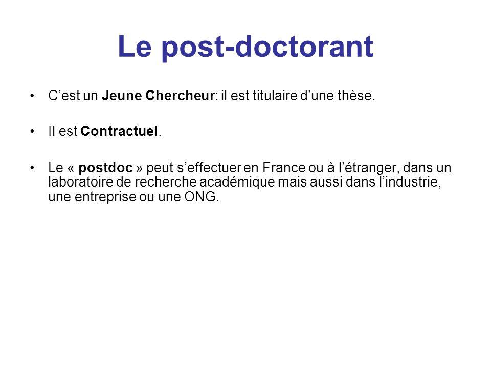 Le post-doctorant Cest un Jeune Chercheur: il est titulaire dune thèse.