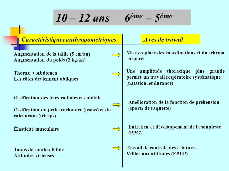 Caractéristiques anthropométriquesAxes de travail Augmentation de la taille supérieure à celle du poids (2 kg/an) 13 – 16 ans4 ème – 2 nde Modification du schéma corporel Difficulté dans le contrôle du mouvement Âge de la disgrâce physique Diminution de la flexibilité Éducation posturale Travail des sensations, justesse corporelle, indépendance segmentaire, travail analytique (natation, Haies, GR, etc.) Travail sur le corps (APEX) Travail de relâchement et dassouplissement systématique Éviter les surcharges musculaires Retard viscéral sur le développement moteur Ossification des os du bassin.