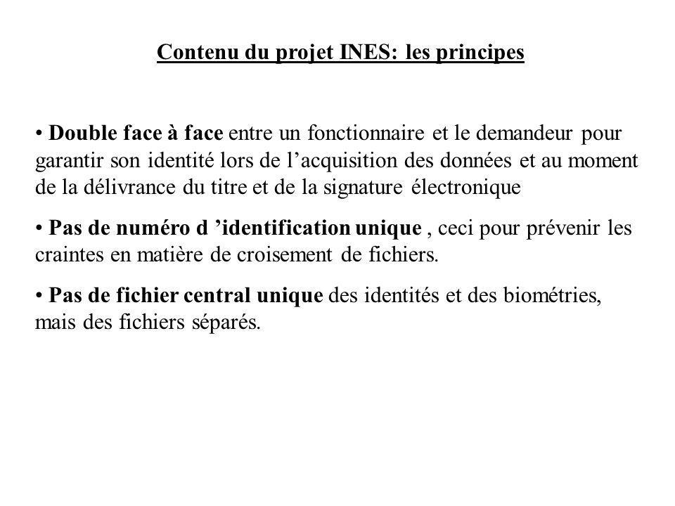 Contenu du projet INES: les principes Double face à face entre un fonctionnaire et le demandeur pour garantir son identité lors de lacquisition des données et au moment de la délivrance du titre et de la signature électronique Pas de numéro d identification unique, ceci pour prévenir les craintes en matière de croisement de fichiers.