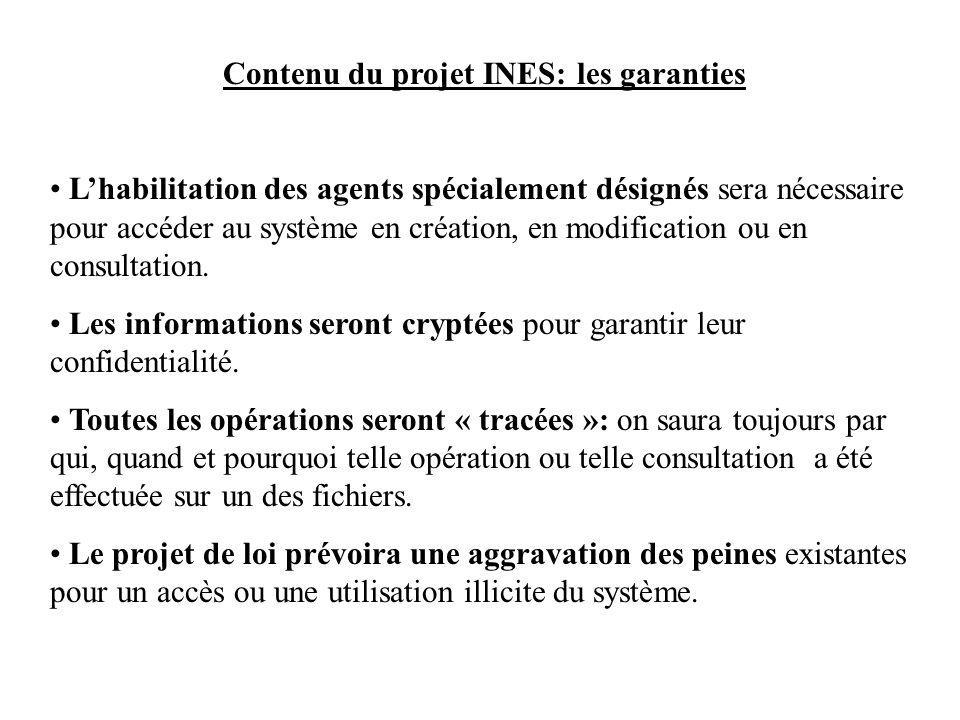 Contenu du projet INES: les garanties Lhabilitation des agents spécialement désignés sera nécessaire pour accéder au système en création, en modification ou en consultation.