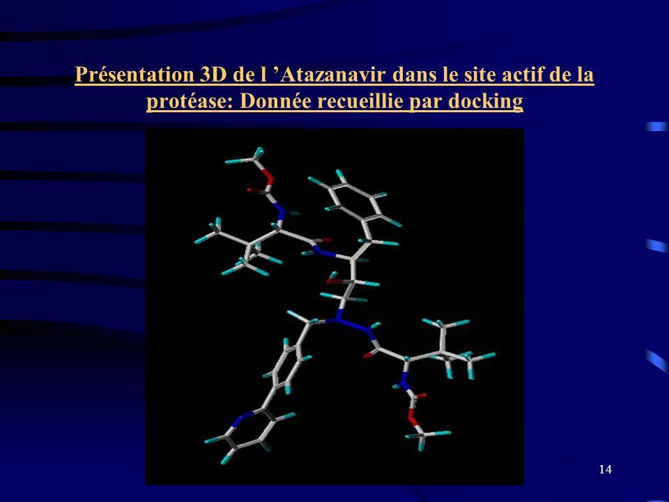 14 Présentation 3D de l Atazanavir dans le site actif de la protéase: Donnée recueillie par docking