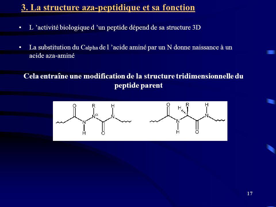 17 L activité biologique d un peptide dépend de sa structure 3D La substitution du C alpha de l acide aminé par un N donne naissance à un acide aza-aminé Cela entraîne une modification de la structure tridimensionnelle du peptide parent 3.