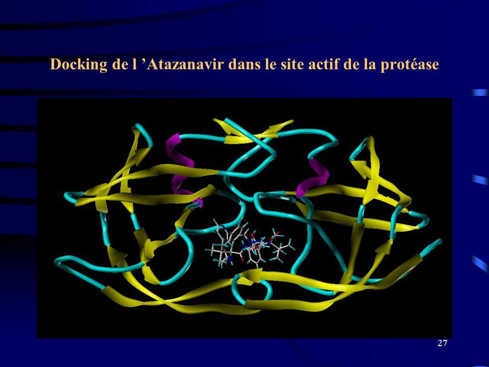 27 Docking de l Atazanavir dans le site actif de la protéase