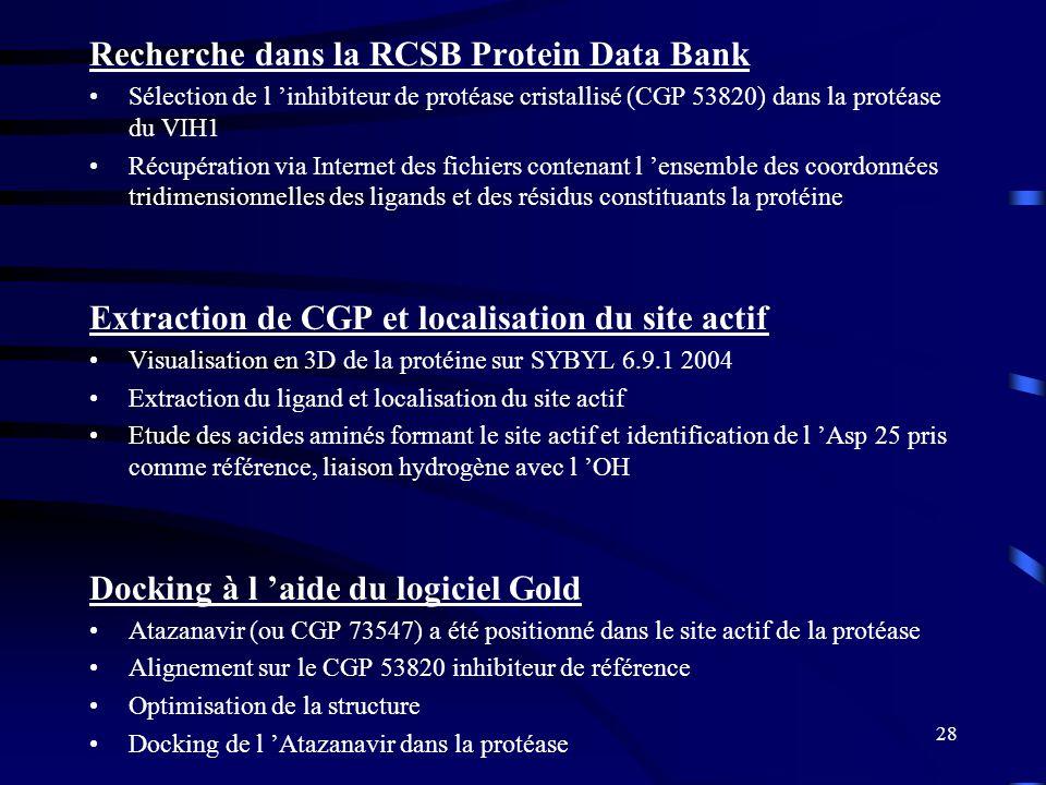 28 Recherche dans la RCSB Protein Data Bank Sélection de l inhibiteur de protéase cristallisé (CGP 53820) dans la protéase du VIH1 Récupération via In