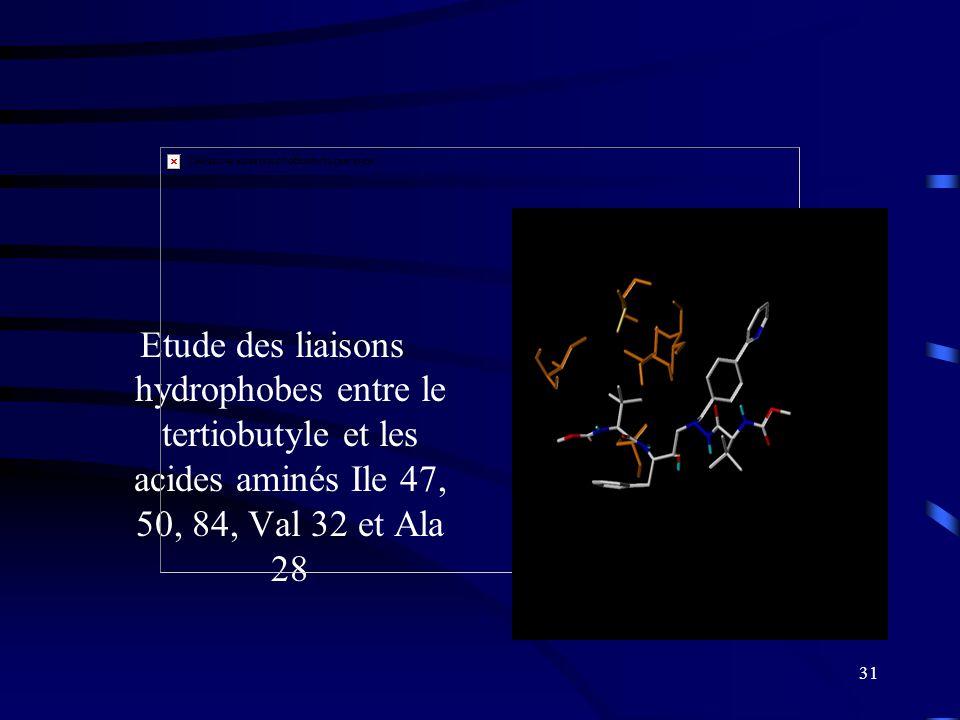 31 Etude des liaisons hydrophobes entre le tertiobutyle et les acides aminés Ile 47, 50, 84, Val 32 et Ala 28