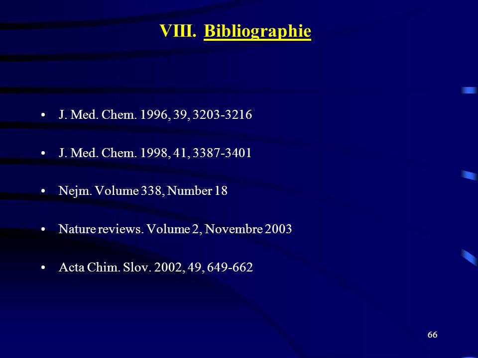 66 VIII. Bibliographie J. Med. Chem. 1996, 39, 3203-3216 J. Med. Chem. 1998, 41, 3387-3401 Nejm. Volume 338, Number 18 Nature reviews. Volume 2, Novem